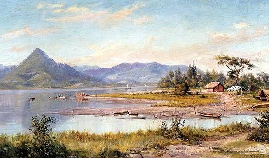 """""""Baía de São Vicente, Praia do Itararé"""". (by Benedito Calixto de Jesus)."""