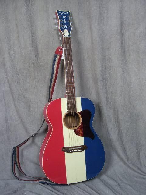 A vintage Buck Owens American guitar owned by musician Ryan Adams.