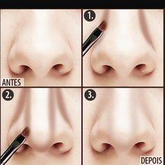"""""""Contorno do nariz: indicado para aquelas que querem afinar e/ou empinar o nariz! Se vc deseja só afinar aplique um pó bronzeador (mate=sem brilho) ou um…"""""""