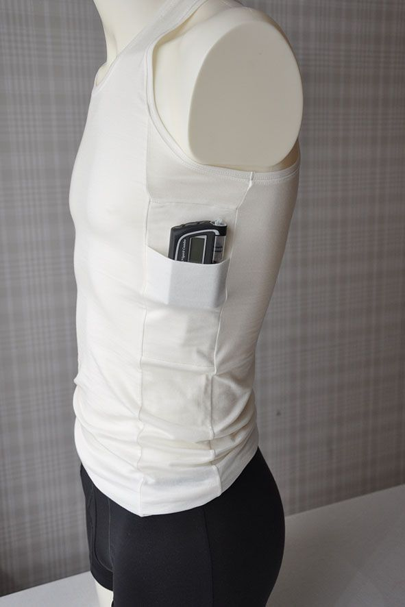 Men tank top with two pockets for insulin pump, one on each side.