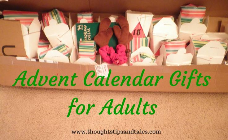 Adult advent calendars with daily gifts are great when someone moves, has a traumatic life event (breakup, job loss) or can't come home for the holidays. Here are ideas for the whole month of December.
