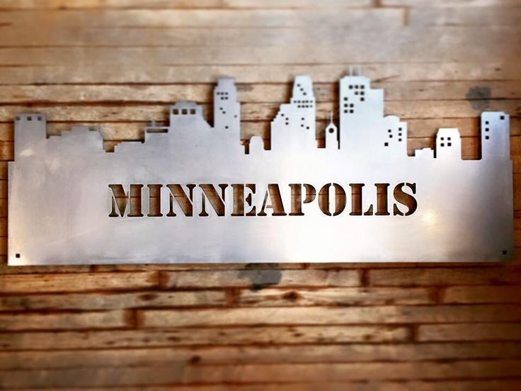"""Minneapolis Skyline. Metal, laser-cut wall art. Custom orders and sizes available, from 24"""" to .....really, really big!  Carver Junk Company - starts at $89! carverjunkcompany.com"""