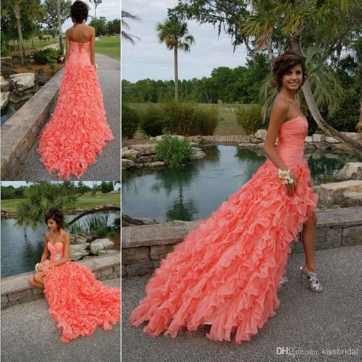 Nice Coral Color Prom Dress Picture Collection - Wedding Dress Ideas ...