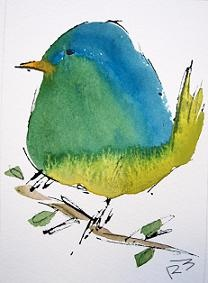 Watercolor Birds-Richard McKey  ----- I LOVE how the artist used a bit of ink outlining. PERFECT !!!!