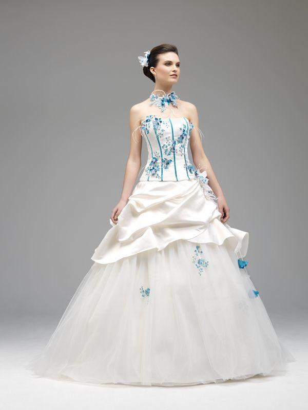 Model Alia ivoire turquoise , 2014 Annie Couture Robe de mariée