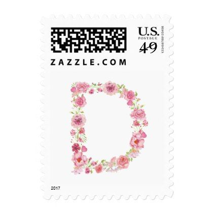 D Initial Floral Monogram Postage Stamp - bridal shower wedding marriage party bride idea
