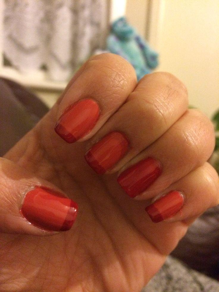 Red & Orange French Manicure