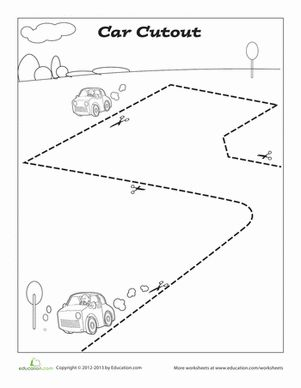 Your preschooler can build her fine motor skills with this car cutout page.