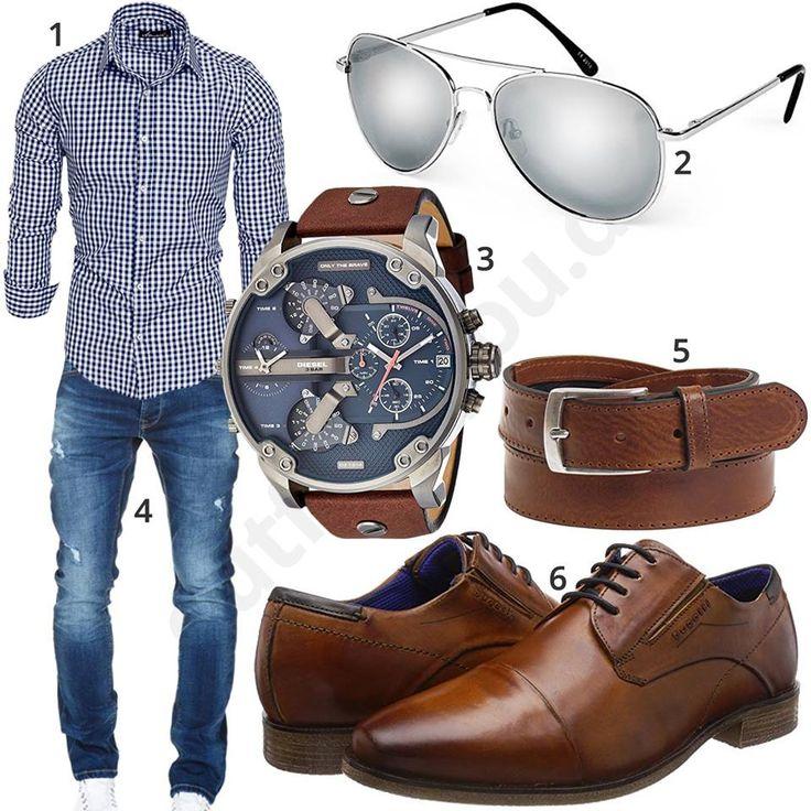Herrenoutfit mit Hemd, Jeans und Business-Schuhen