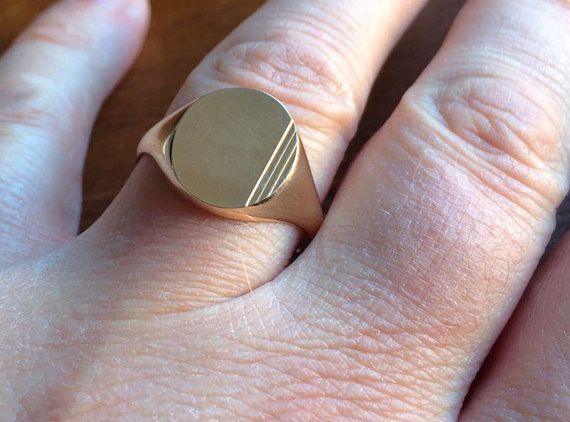 Gold Signet Ring, Solid Gold Mens Signet Ring, Wedding Ring