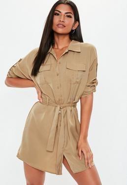 97ccafbb9cdaa Stone Tie Waist Utility Shirt Dress | Be the Trend! | Dresses, Shirt ...