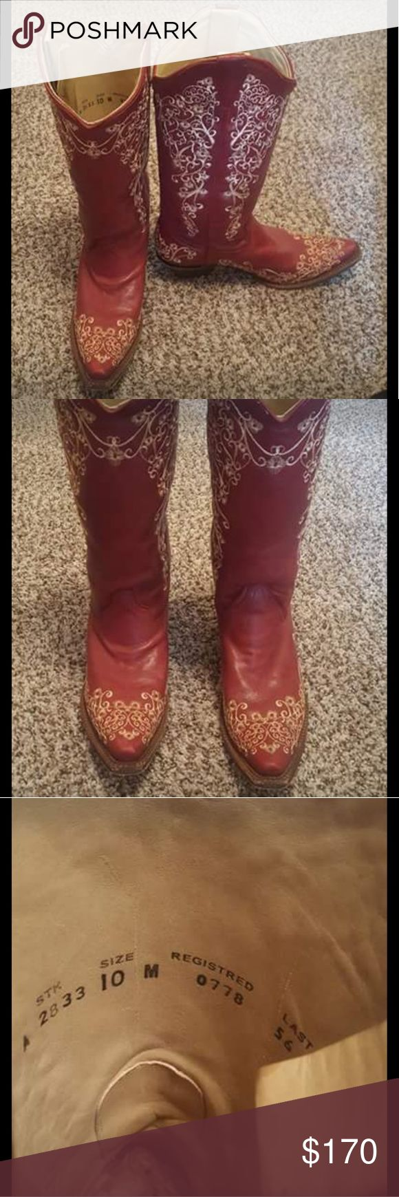 Corral West Red Pointed Toe Boots Corral west embroidered red pointed toe boots, size 10. Only worn once, in immaculate condition, have been kept in the box. Brand new these are still for sale at Boot Barn for $225. Make a good offer and they're yours, free shipping. Corral West Shoes Heeled Boots