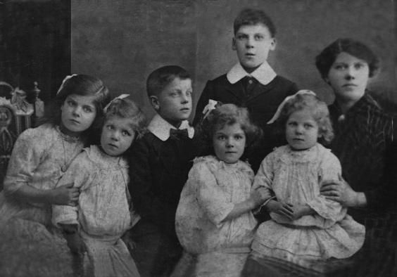 My Winterburn family - Mother's Paternal line - family photo taken 1912 - Manchester, England. (my mother front row 4th from left) with my Grandmother Mary Winterburn (nee King) and her siblings, Herbert, Esther, Sarah, William & Elizabeth.