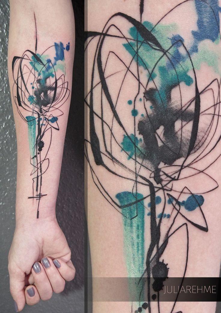 Abstract Watercolour Tattoo Tattoofind In 2020 Tatowierungen Geometrisches Tattoo Federtattoos
