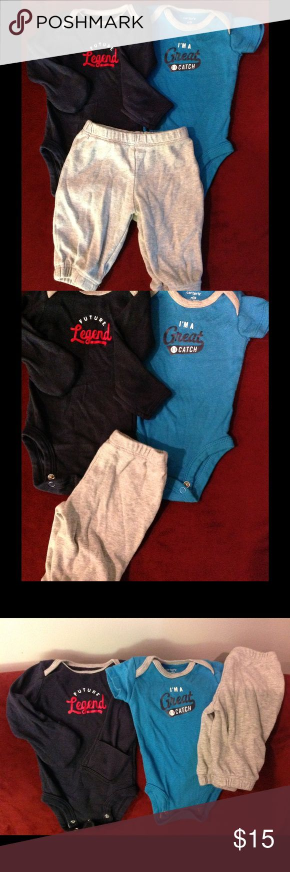 Carter's 3 Piece Sport Outfit Take me out to the ball game with this great interchangeable base ball outfit. Gently used, in great condition Carter's Matching Sets