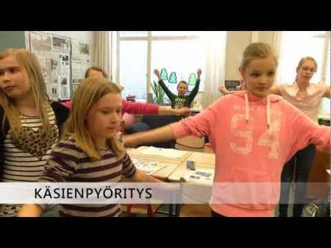 "Here you have several easy examples to stop sitting, shown by a school class from the ""Finnish Muuvit""."