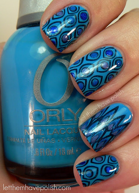 : Nails Art, Polish Nails, Nails Polish, Blue Patterns, 31 Day Challenges, Peacocks Feathers, Art Nails, Nail Art, Blue Nails