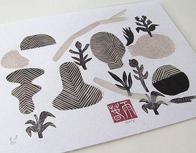 "Check out new work on my @Behance portfolio: ""Zen Garden   linocut monotype print"" http://be.net/gallery/38078859/Zen-Garden-linocut-monotype-print"