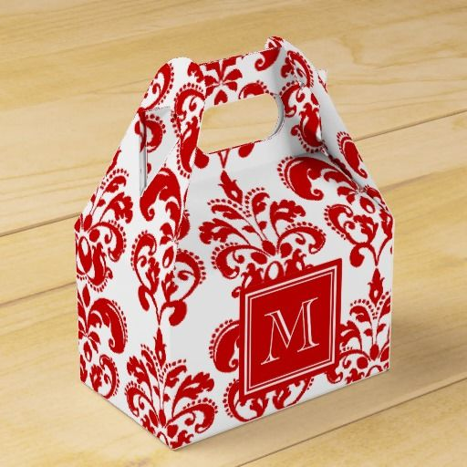 GIRLY, RED AND WHITE DAMASK VINTAGE PATTERN #MONOGRAMMED WITH YOUR INITIAL OR NAME TO CREATE A CHIC, PERSONALIZED, UNIQUE GIFT FOR HER.