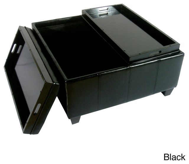 Elegant Large Faux Leather Storage Ottoman With 2 Tray Top