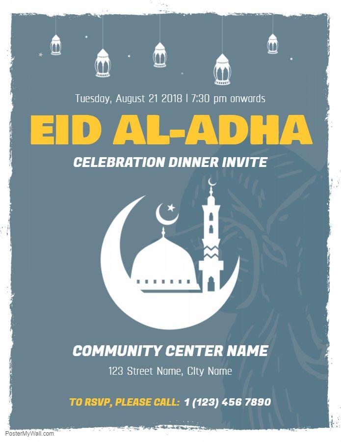 Eid Al Azha Dinner Invite Poster Template Eid Card Template Eid