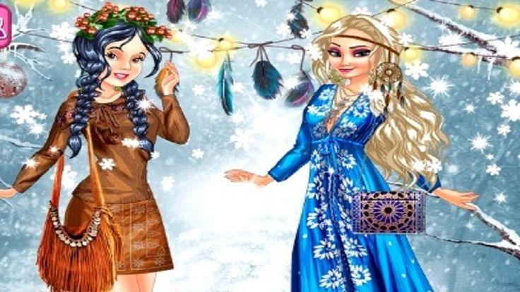 Em Princesas Vestir Moda Boho na Neve, as princesas Elsa e Branca de Neve estão de férias, e neste ano elas escolheram curtir suas férias nos países frios e cheios de neve. Mas, mesmo estando na neve, elas não perdem seu estilo fashion. Elas precisam de sua ajuda para criar um visual para passear na neve. E elas não querem qualquer roupa, elas querem vestir a moda boho na neve. Será que você pode ajuda-la.