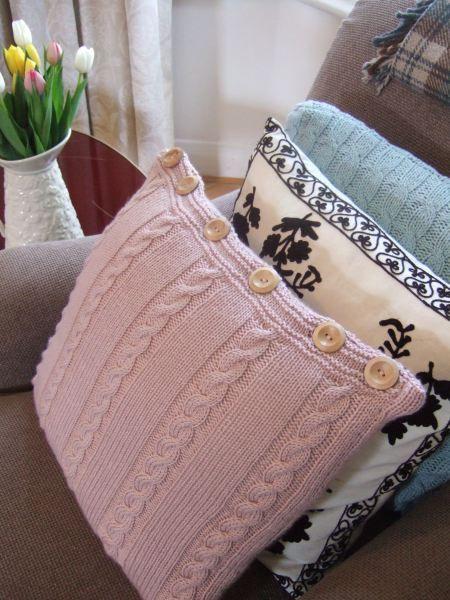 erika knight knitted cushion