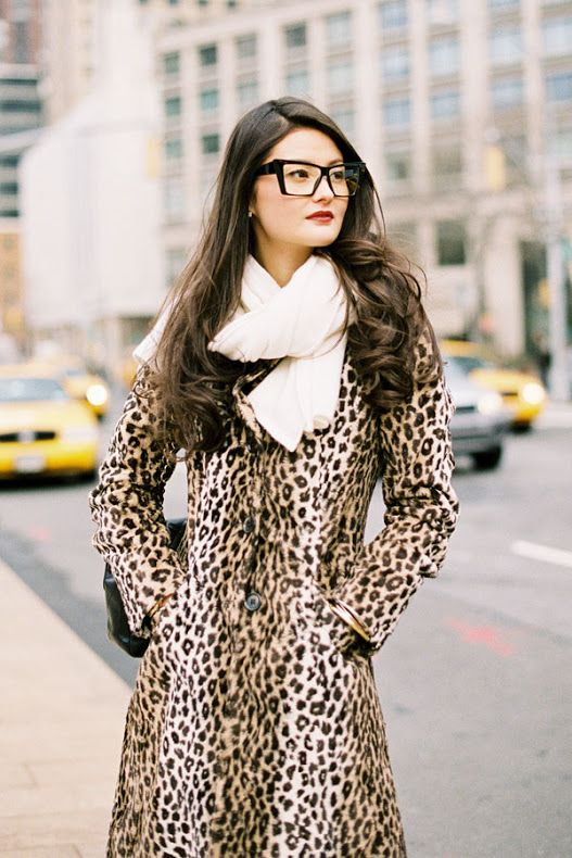 I love this retro feel animal print coat . streetstyle