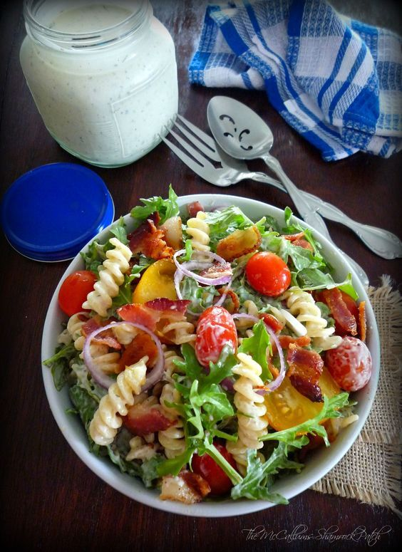 BLT Pasta Salad is a wonderful Salad consisting of peppery arugula, corkscrew pasta, thick crisp bacon, sweet and delicious organic yellow cocktail tomatoes and tiny grape tomatoes, with red onion ...