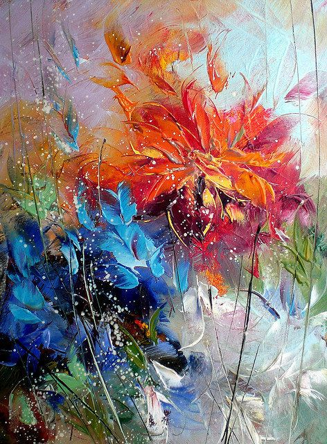 Paintings by Lyubomir Kolarov--orange, blue     fascinating brushstrokes