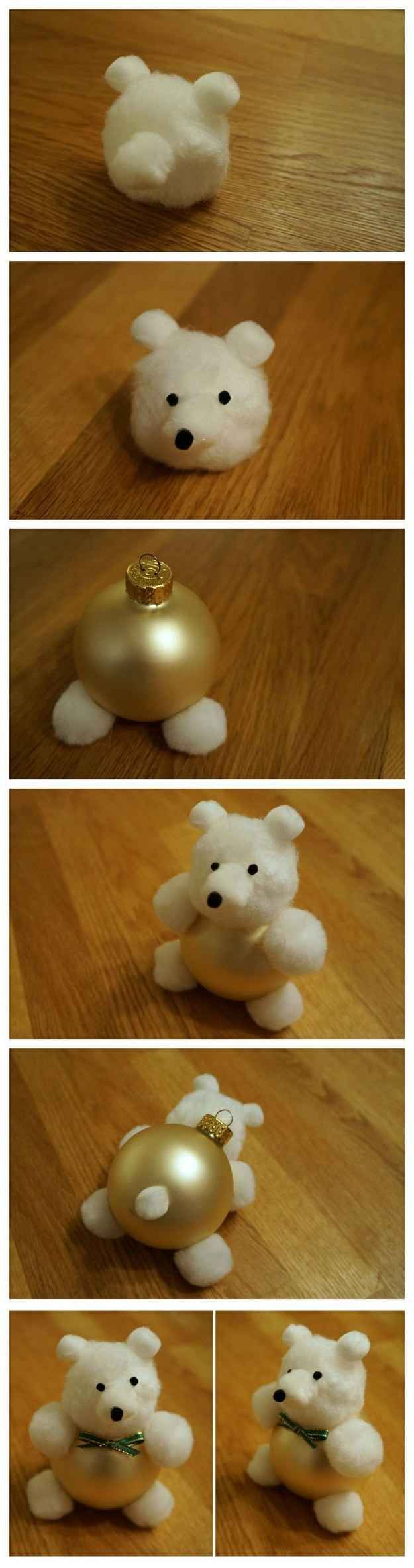 Cotton Ball Teddy Bear Ornament