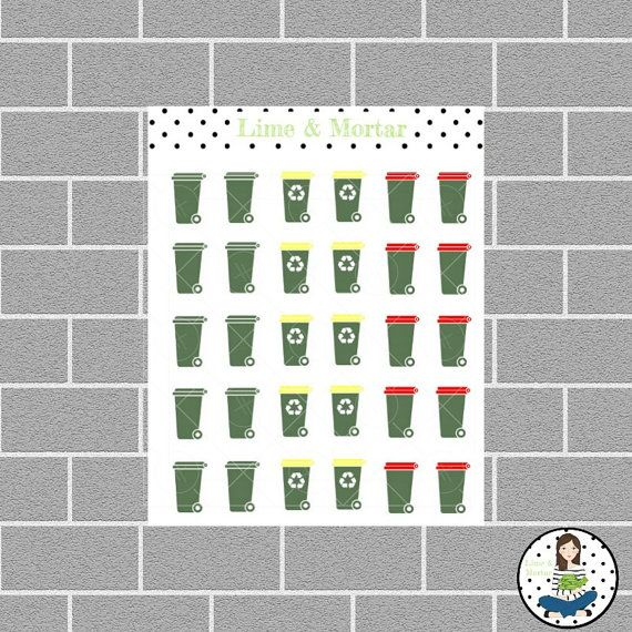 Oh yes, I mark bin night with green bins and recycling night with yellow bins!  Wheelie Bins | Coloured Lids | Mini Icon Planner Stickers