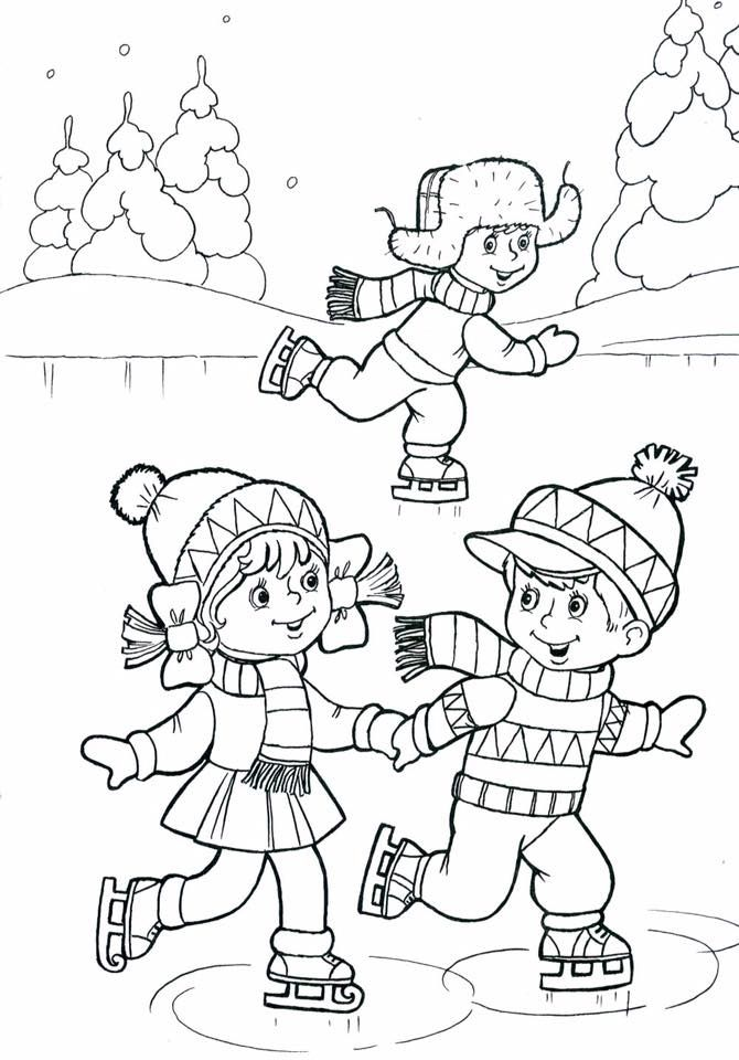 Children ice skating coloring page