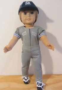 "Baseball Softball Outfit fits American Girl Doll or 18 Inch Dolls by The Wishlist Store. $18.95. 3 Piece Uniform for American Girl Doll or 18 Inch Dolls.. Says ""New York"" on Uniform.. Includes Top, Pants and Hat.. Baseball Uniform for American Girl Doll or 18 Inch Dolls.  New York Top, Pants and Hat."