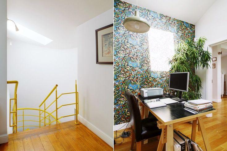 Двухэтажная квартира с жёлтой лестницей и садом на балконе . Изображение №19.