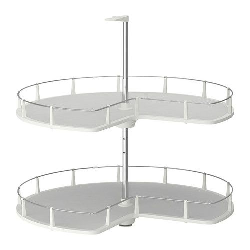 IKEA - UTRUSTA, Corner base cabinet carousel, 25-year Limited Warranty. Read about the terms in the Limited Warranty brochure.You make maximum use of the corner space and what's inside the cabinet easy to see and reach with the 2 swivel shelves.You can customize your storage as needed, since the shelf is adjustable.Melamine-covered shelf with a scratch-resistant surface that's easy to clean.Ideal for storing things like pots, pie pans, and dry goods.