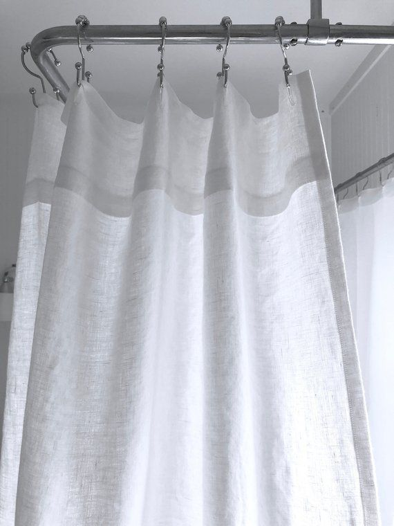 Pure White Linen Shower Curtain In 2020 Custom Shower Curtains