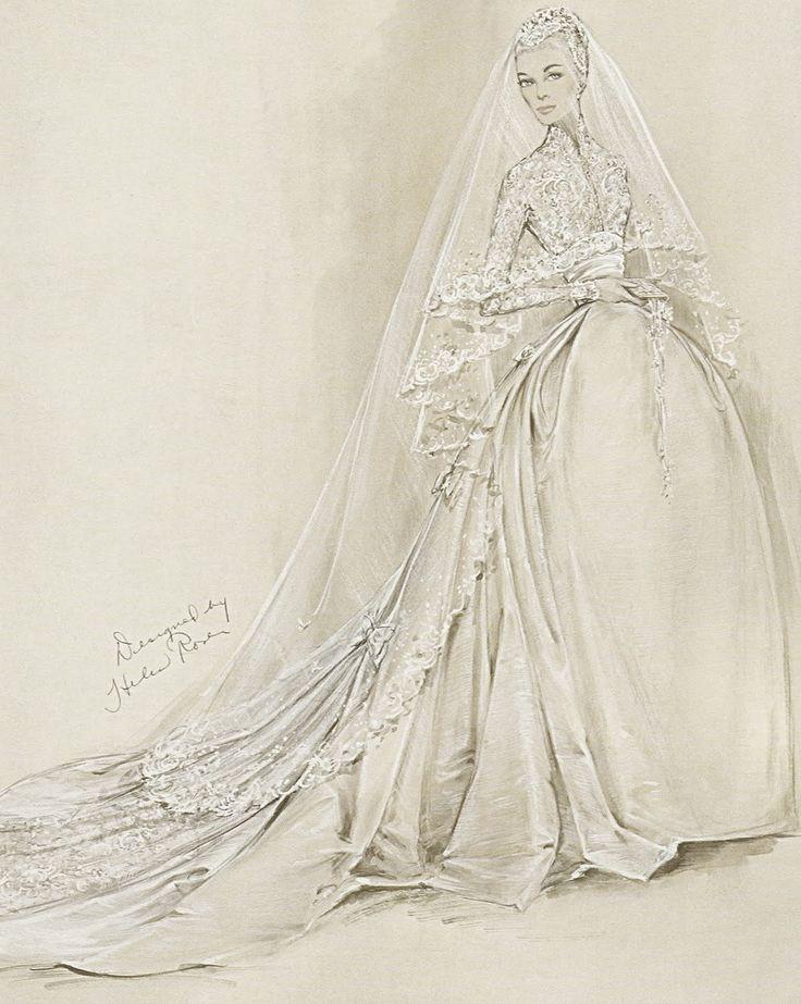 fashioninhistory: Wedding Dress for Grace Kelly (Sketch) Helen Rose 1956