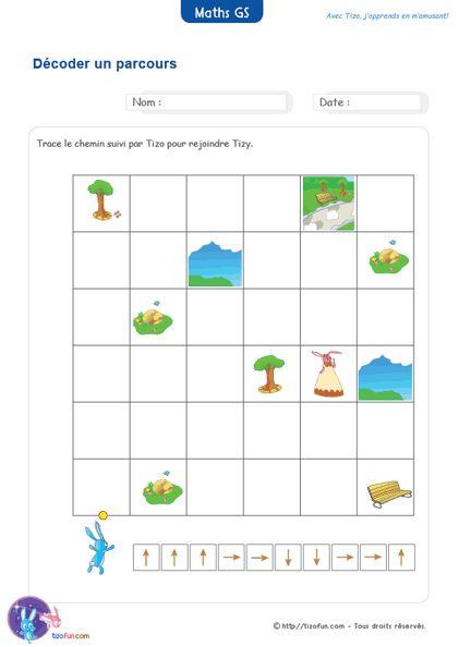 PDF Fiche Maternelle Maths Grande Section Parcours codés, pour apprendre à décoder un parcours en se servant des flèches qui indiquent les directions à suivre.