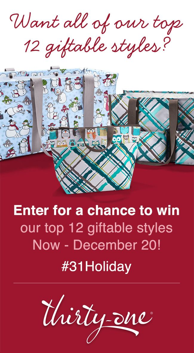 At Thirty-One, you'll find practical, personal presents for everyone on your list! To help you get started, we've compiled a list of our top 12 giftable styles! Plus, click on the pinned image for more details about how you can enter for a chance to win all of these wonderful styles! #31Holiday Go to my website www.mythirtyone.com/jeniferrippy