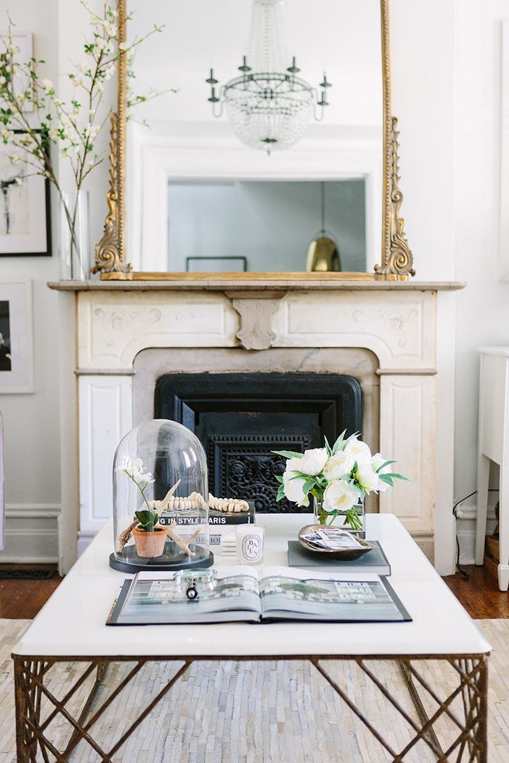 simple, easy DIY, branches from yard, clear vase, oversized mirror, gold The Everygirl Cofounder Alaina Kaczmarski's Greystone Home Tour | The Everygirl
