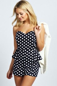 Phillipa Polka Dot Bandeau Peplum Playsuit - Playsuits & Jumpsuits - Women's Sale