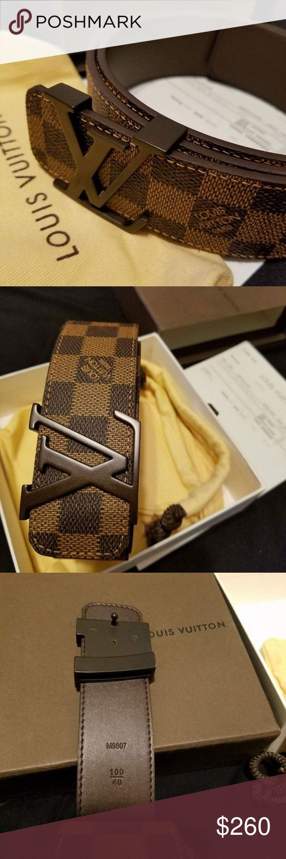 Louis Vuitton belt Damier Ebene Louis Vuitton  Belt. Brand New Belt comes with Box, Dust Bag, Tags, and Belt. I have different Sizes, so pick the right size for you, if you need help comment below and I will help you out. To confirm Authenticity check some Authenticity checking video and confirm with my pictures. I am telling you, so that you can shop with confidence. Thanks a lot for shopping with me. Also for faster replies feel free to text me at 347-901-8321 I only check this app at…