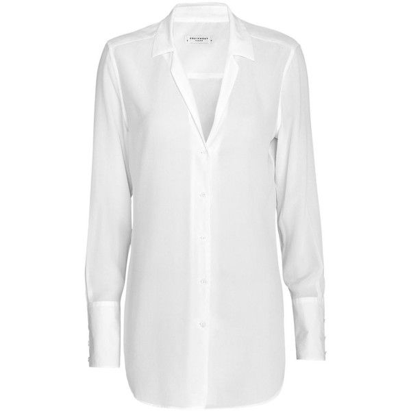 Equipment May Poplin Cuff Silk Blouse: White ($238) ❤ liked on Polyvore featuring tops, blouses, shirts, white, white long sleeve shirt, long-sleeve shirt, white shirt, white collared blouse and long sleeve collared shirts