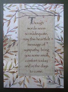 Sympathy Card wording More