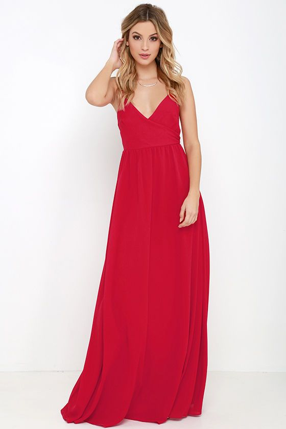 Lulus Exclusive! Make an award-winning entrance when you arrive in the On the Silver Screen Red Maxi Dress! Slender, adjustable spaghetti straps lead into a darted, surplice bodice and fitted empire waist. Full woven skirt flows to an entrancing maxi length. Hidden back zipper.