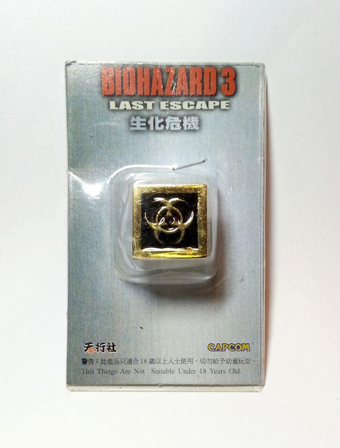 Hong Kong Capcom Comic BIOHAZARD 3 Last Escape Promo Hazard Symbol Gold Metal Square Ring - Resident Evil by mycoffeeboy, $880.00 HKD