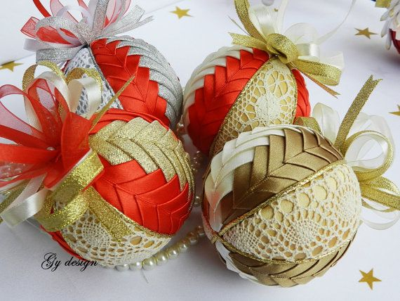 Lovely lace ornament quilted ornaments xmas baubles by Gydesi