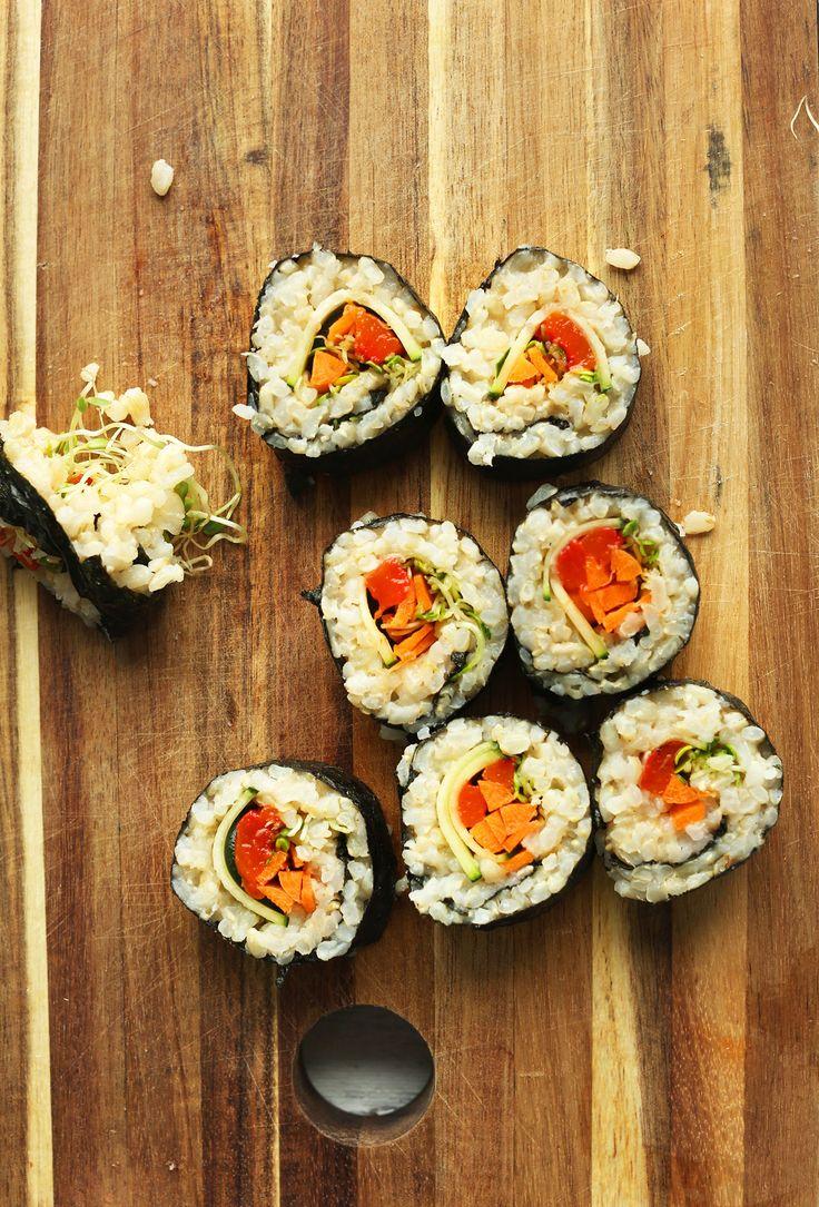 EASY 10 ingredient Vegan BROWN RICE SUSHI! Crunchy, veggie-packed, SO yummy #vegan #plantbased #sushi #glutenfree #recipe #minimalistbaker