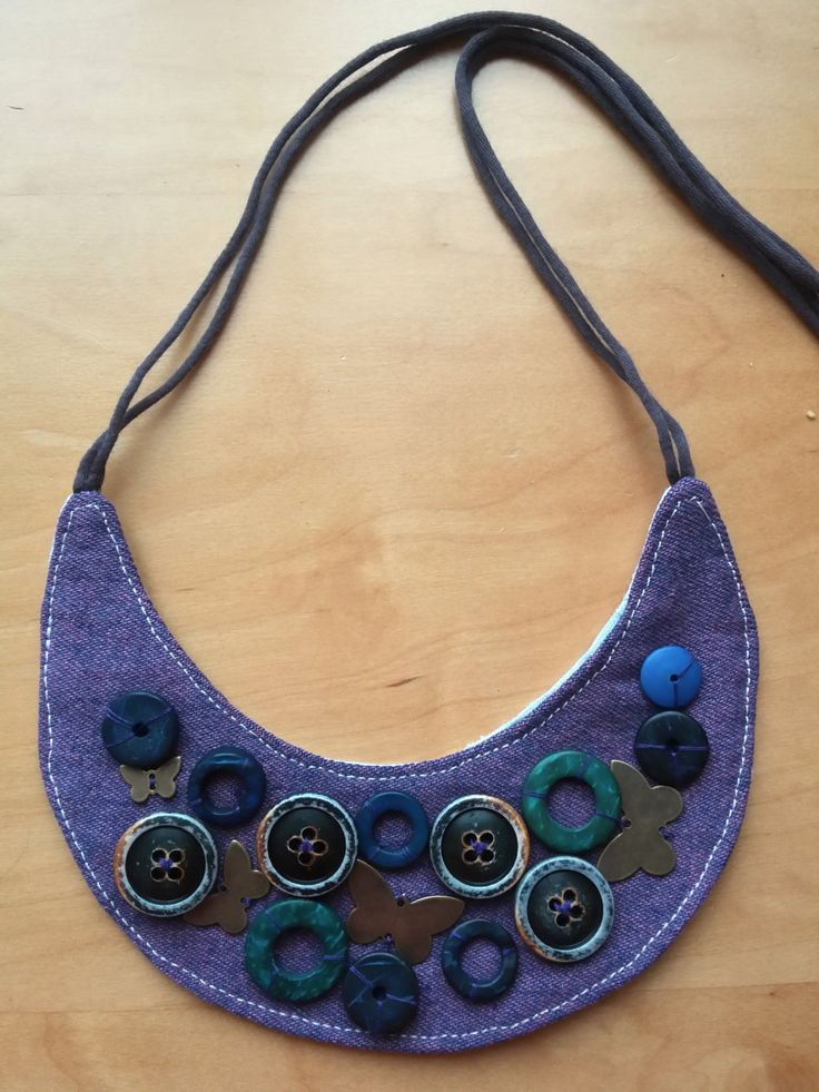 Fabric and buttons necklace - style 3 - by CaterinaMorelli on Etsy